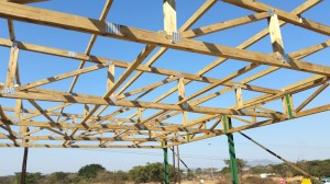 Roofing structure with full SATAS quality accredited Eucalyptus timber, endorsed and designed by MiTek Industries S.A. (Pty) Ltd
